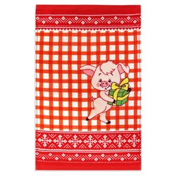 Махровое полотенце Кухня Свинка 30* 50 красное