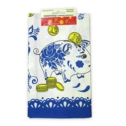 Вафельное Полотенце 48*62 Свинка-копилка синяя
