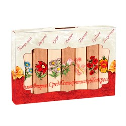 Набор салфеток 7шт вафельные с вышивкой Цветы
